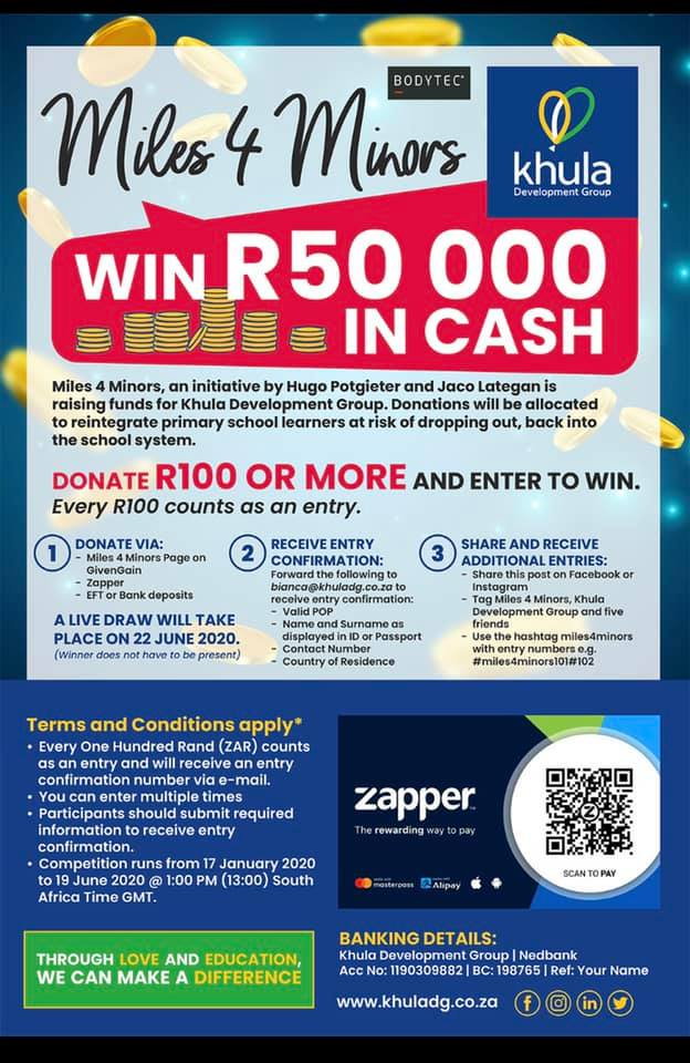 Miles 4 Minors Donate & stand to WIN R50 000 travel prize